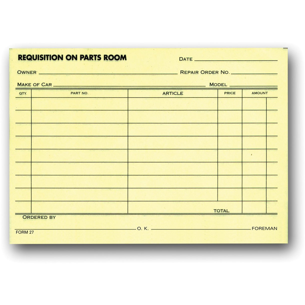 PARTS REQUISITION FORMS #617