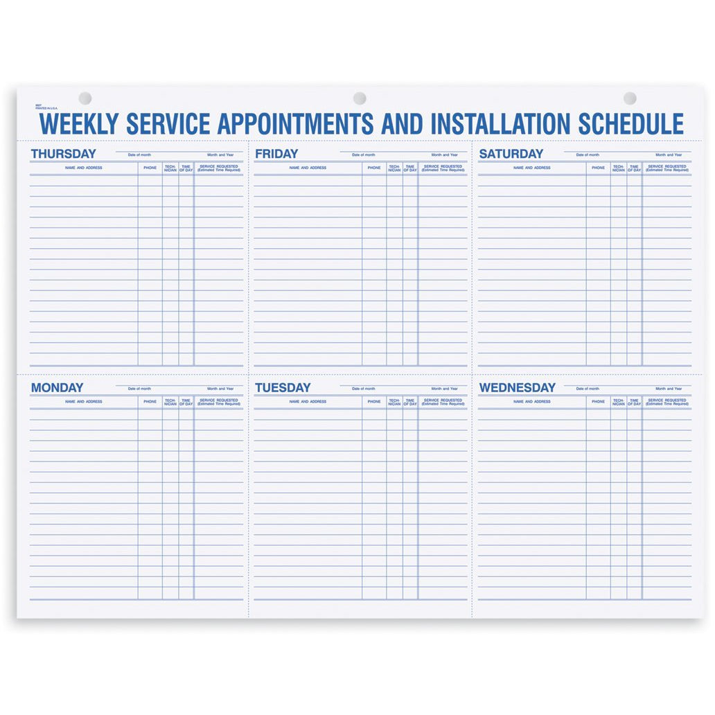 Weekly Service Appointment Pad #9927
