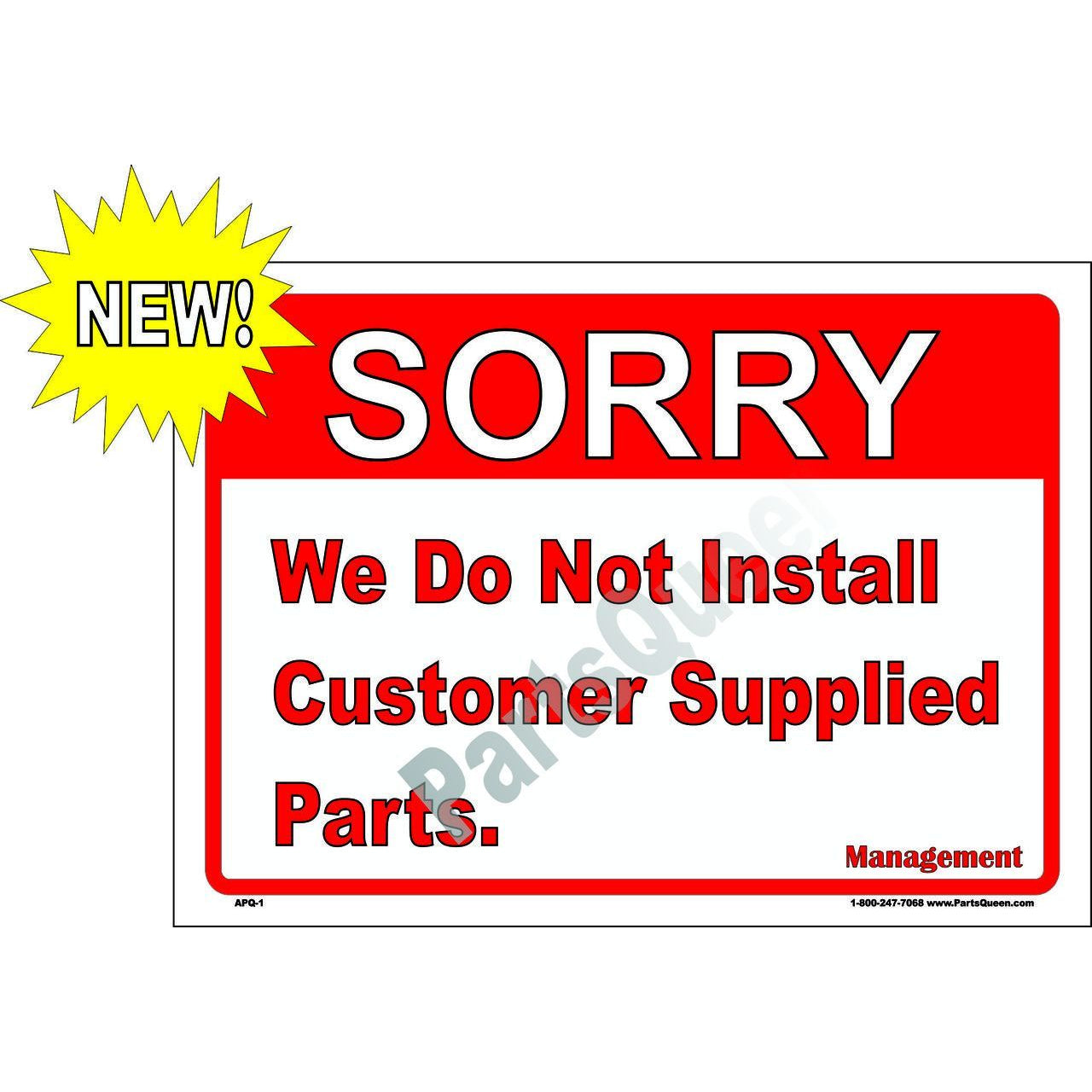 NO CUSTOMER SUPPLIED PARTS  APQ-1