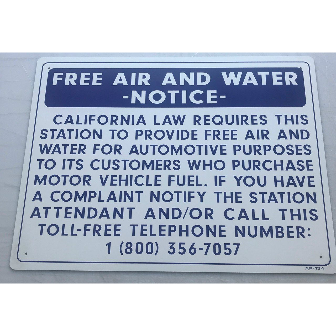 FREE AIR AND WATER NOTICE AP-134