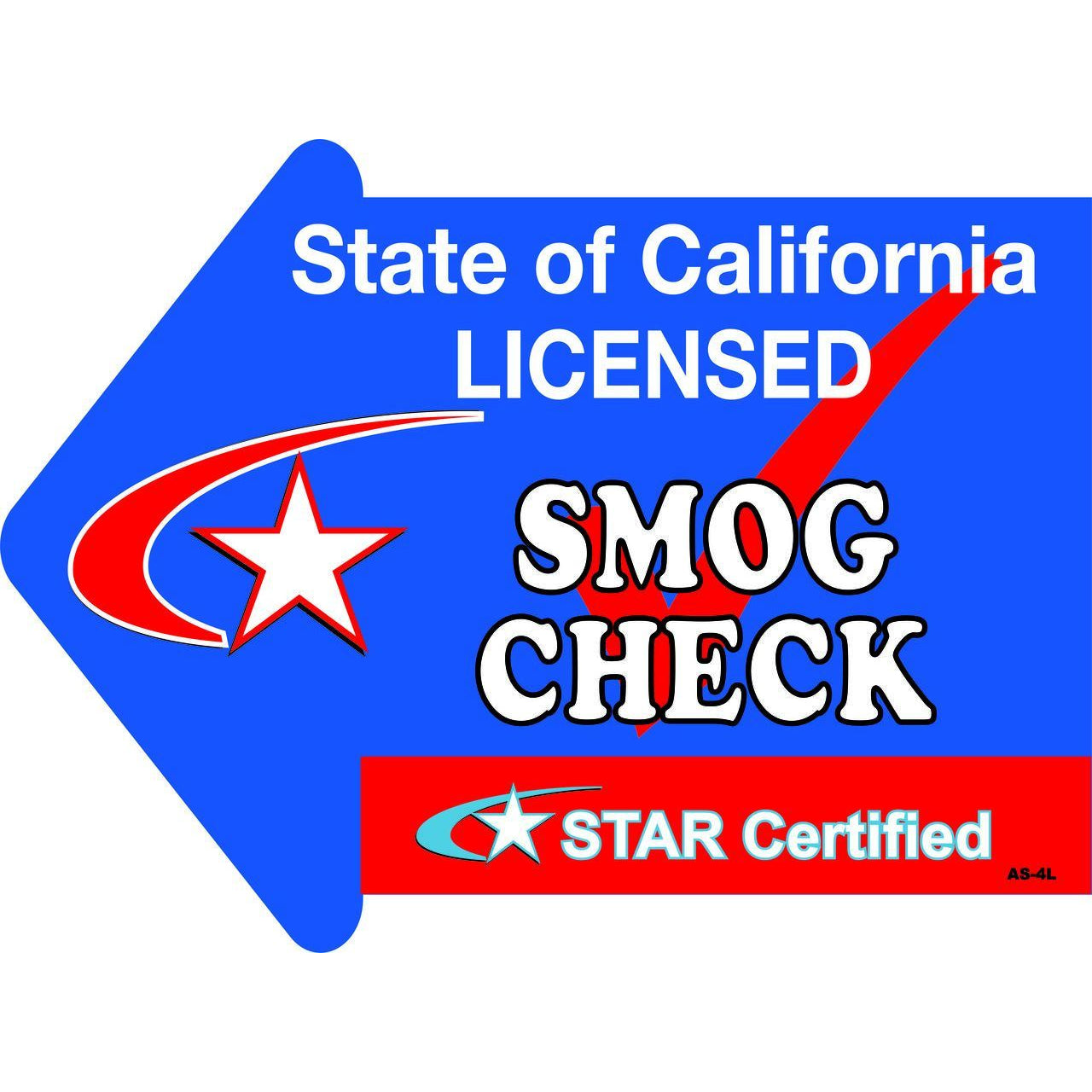 Stake Sign Kit Smog Check Left Arrow AS4L