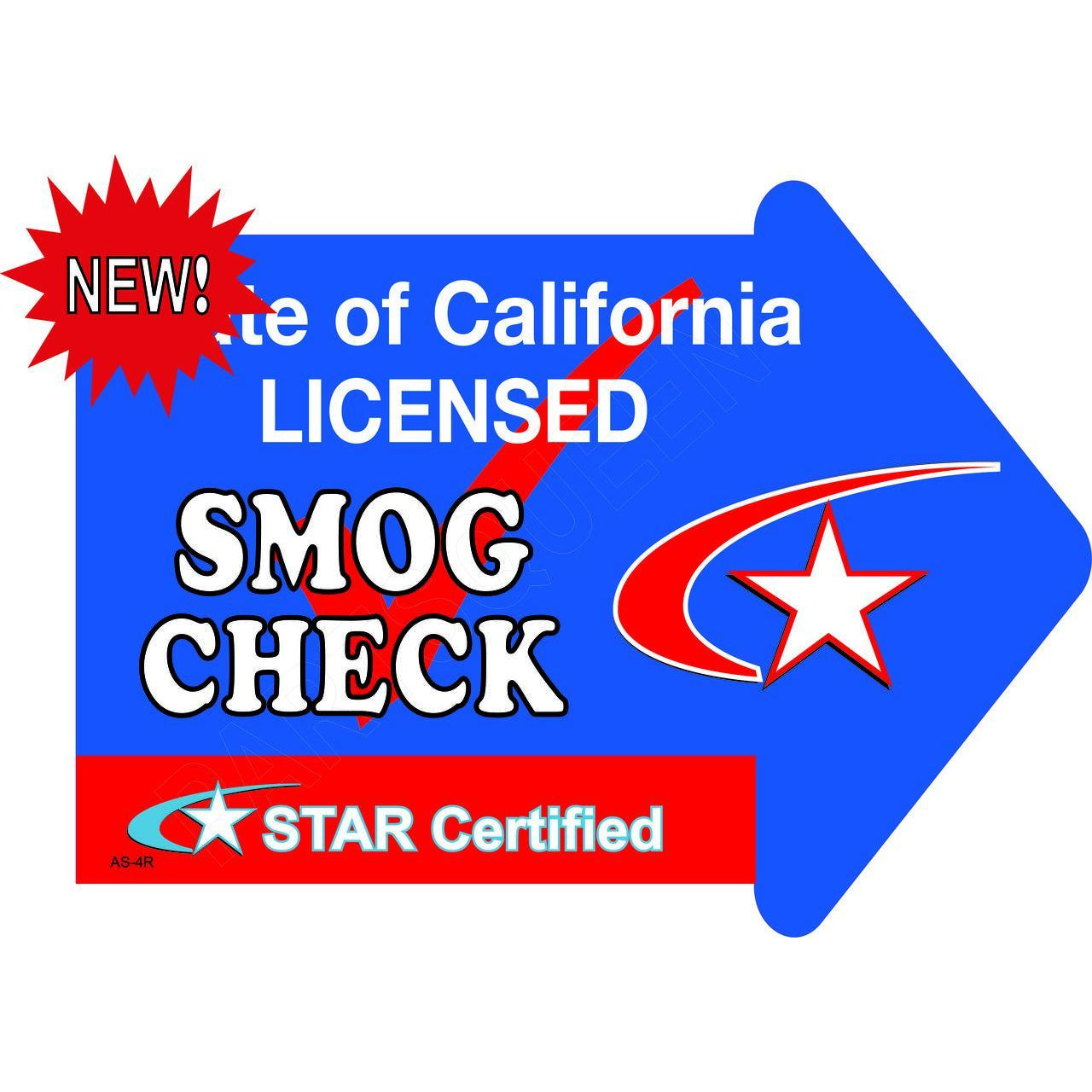 Stake Sign Kit Smog Check Right Arrow AS4R