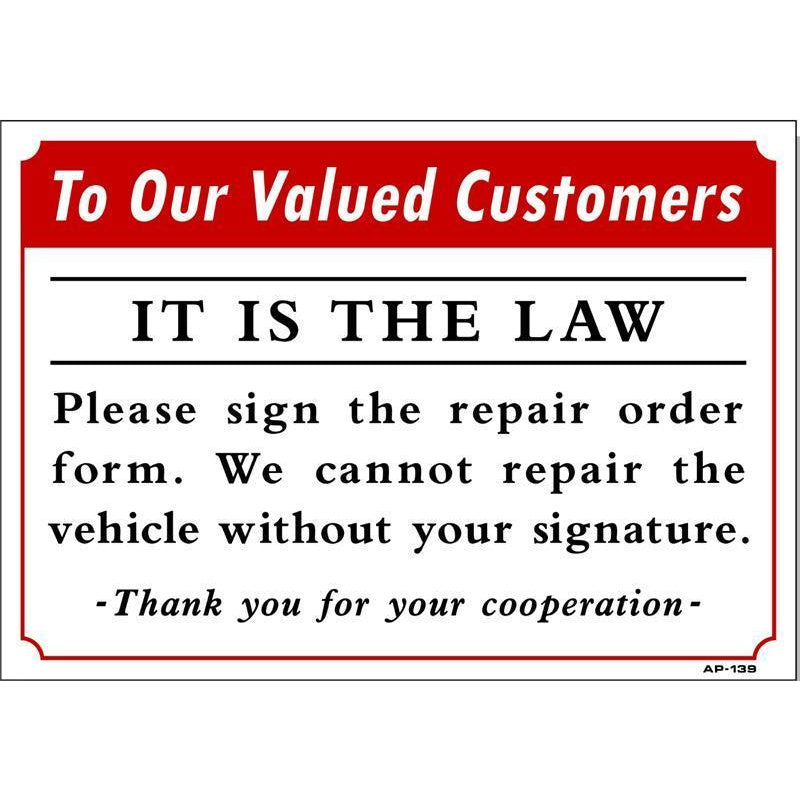 SIGN REPAIR ORDER # AP139