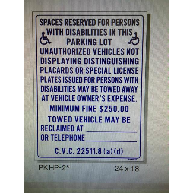 HANDICAP PARKING SIGN HP-2(A)