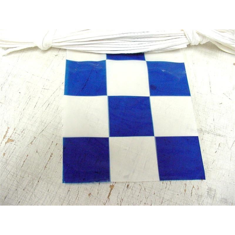Checkered Pennants, Blue & White