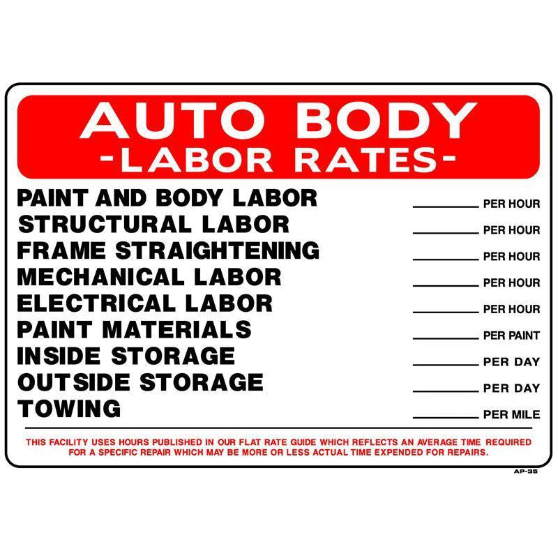 AUTO BODY RATES #AP35
