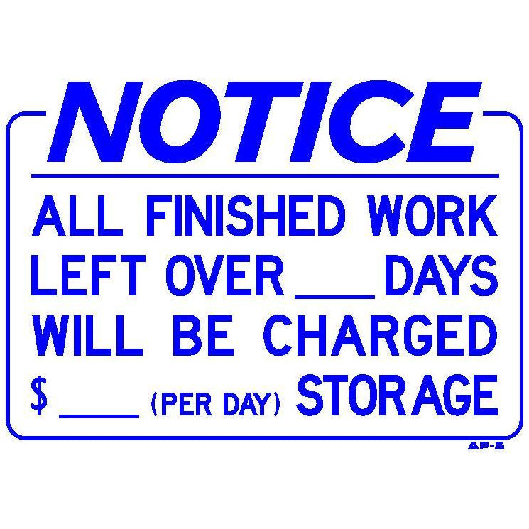 STORAGE CHARGE SIGN #AP5
