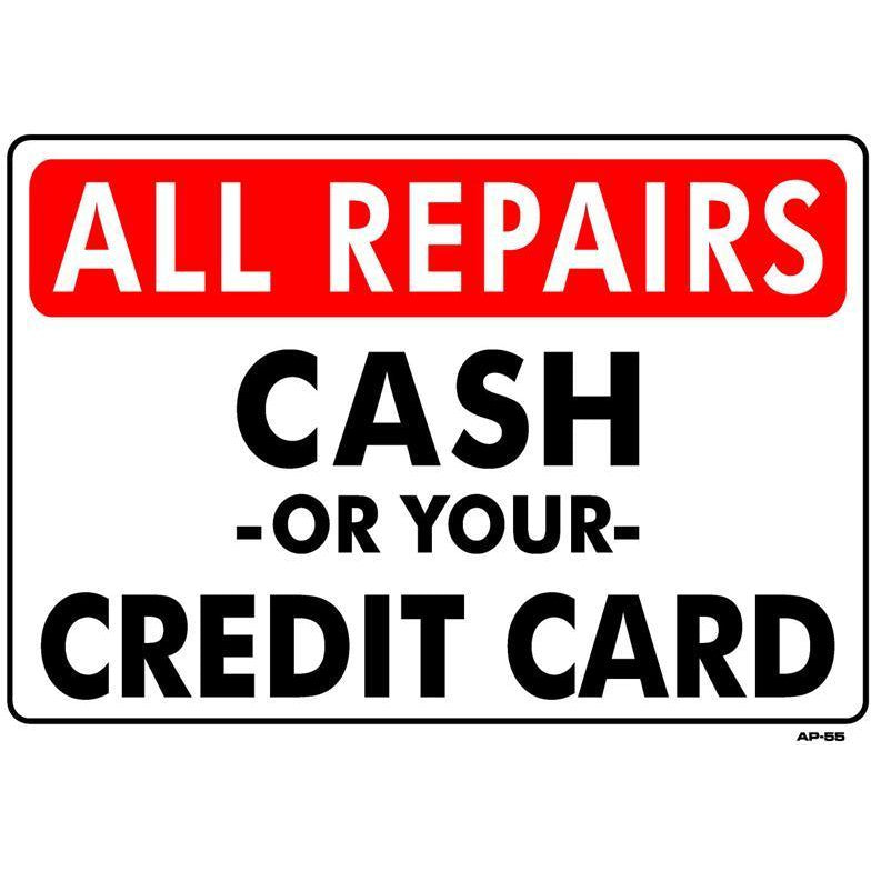 CASH/CREDIT SIGN  #AP55