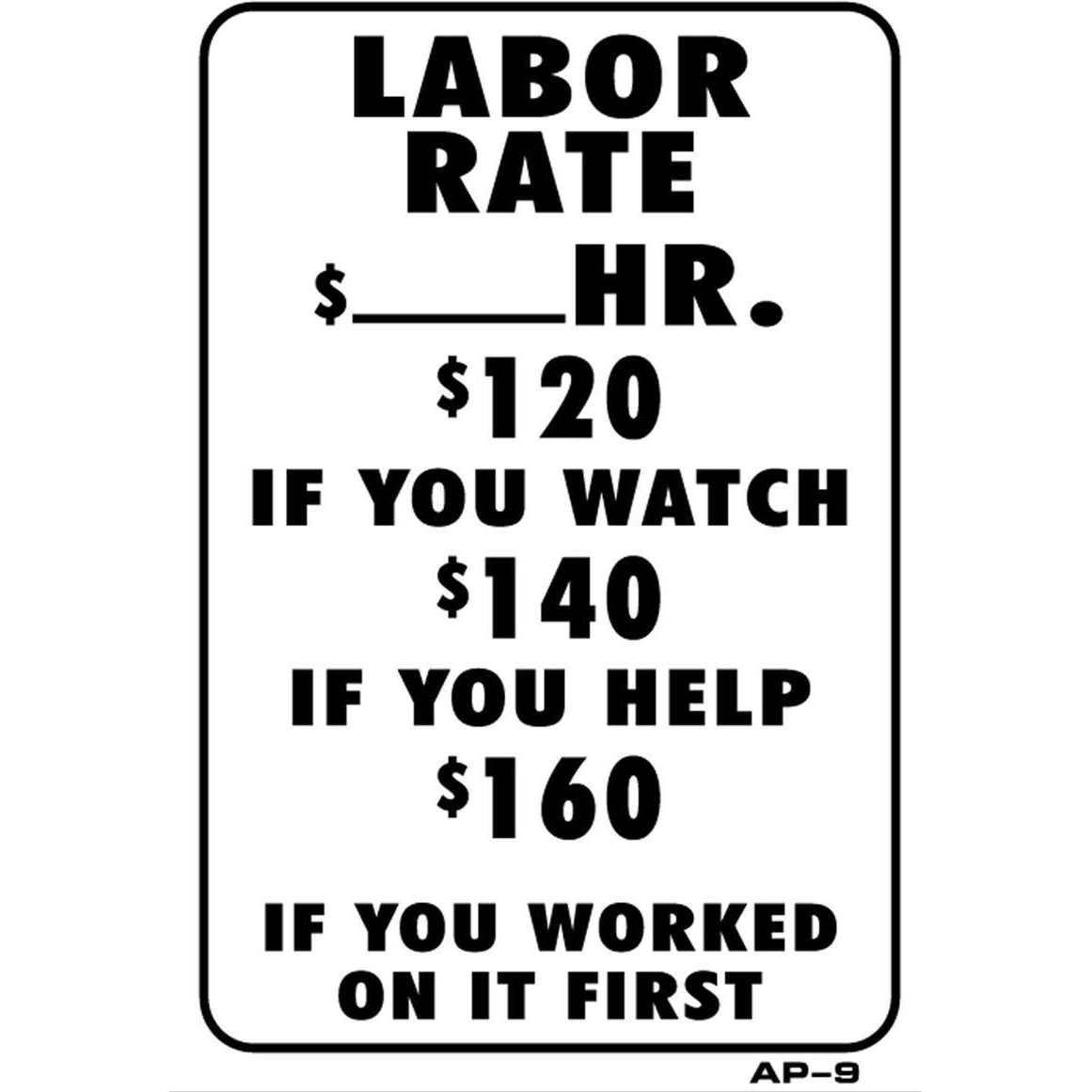 Labor Rates $ Joke Sign AP9