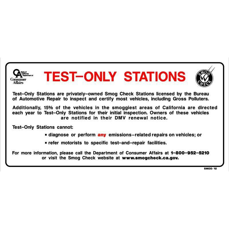 TEST ONLY NOTICE SIGN #SMOG12
