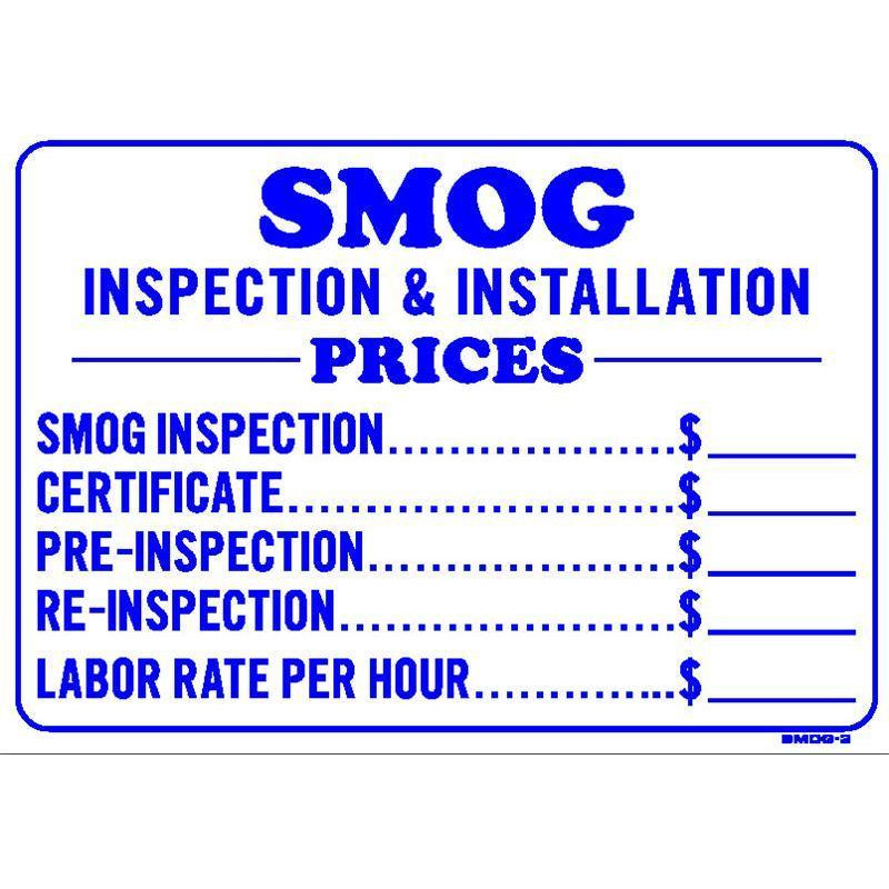 SMOG CHECK PRICE SIGN #SMOG3