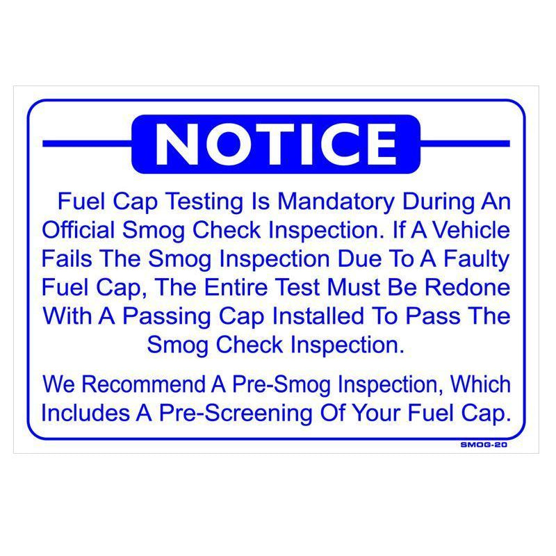 FUEL CAP TESTING SIGN # SMOG-20