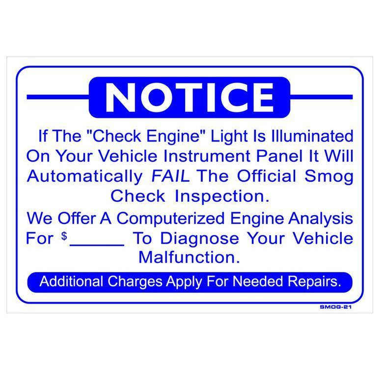 CHECK ENGINE LIGHT SIGN # SMOG-21