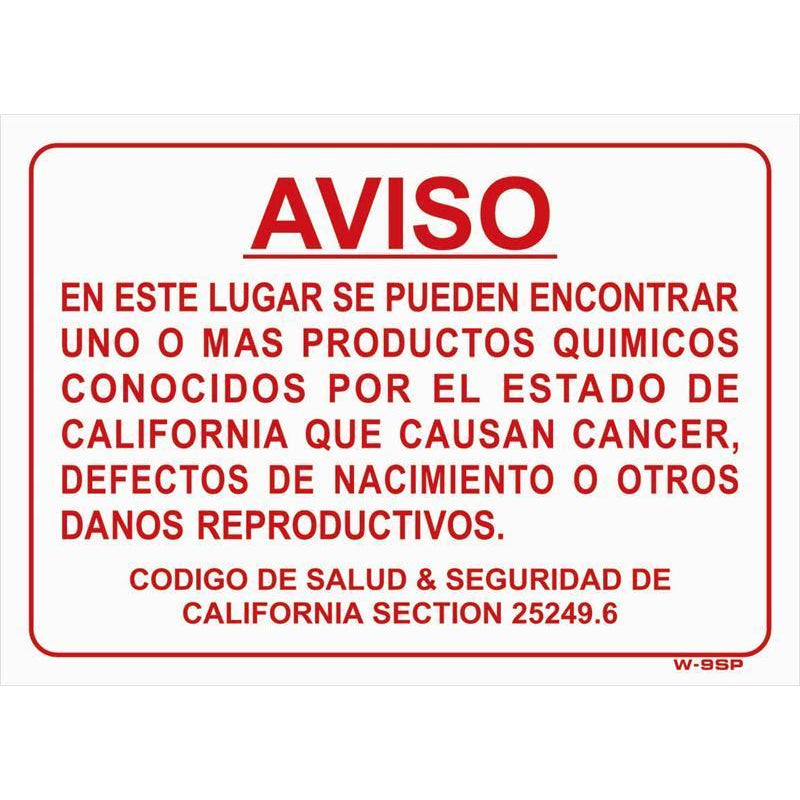 WARNING PROP 65 SIGN SPANISH  #W9SP