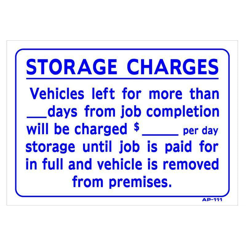 STORAGE SIGN # AP111