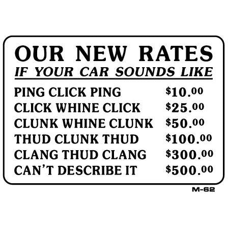 Our New Rates Joke Sign M62