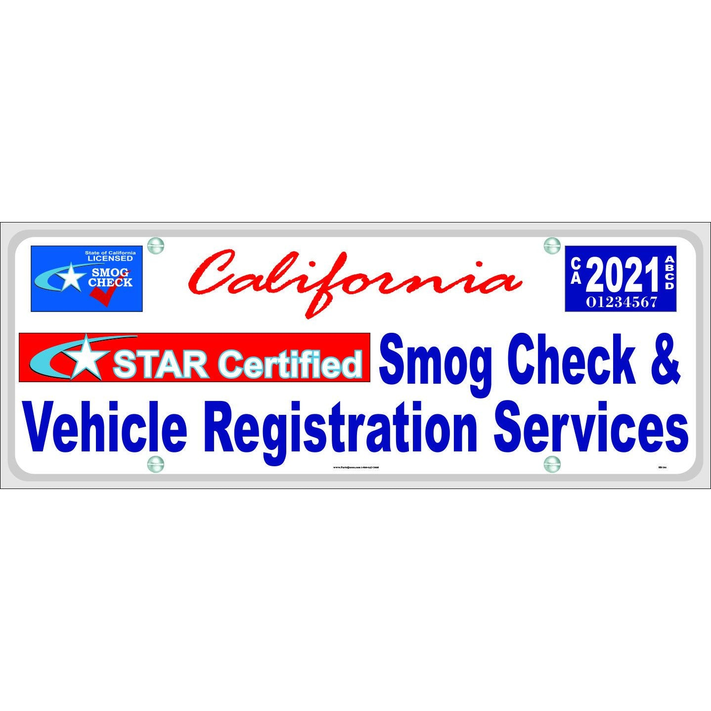 SB-701 SMOG CHECK & VEHICLE REGISTRATION BANNER, STAR CERTIFIED