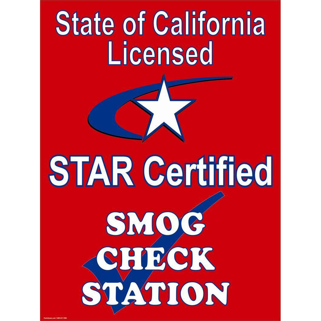 STAR CERTIFIED SMOG SIGNS 3X4 #SBSTAR34RED