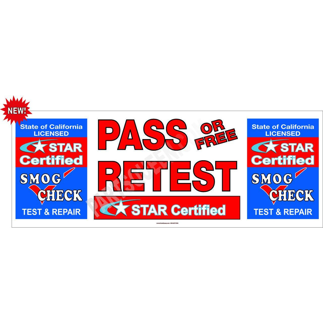 STAR CERTIFIED TEST & REPAIR PASS / FREE RETEST BANNER  # SB939