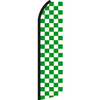 GREEN WHITE CHECKER SWOOPER FLAG #RJ6