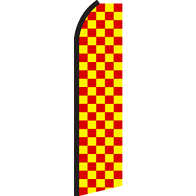 RED YELLOW CHECKER SWOOPER FLAG #RT0