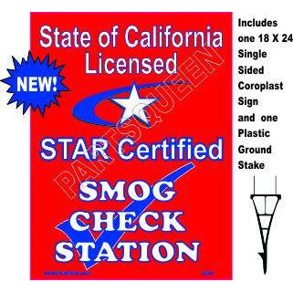 Stake Sign Kit Star Certified Smog Check
