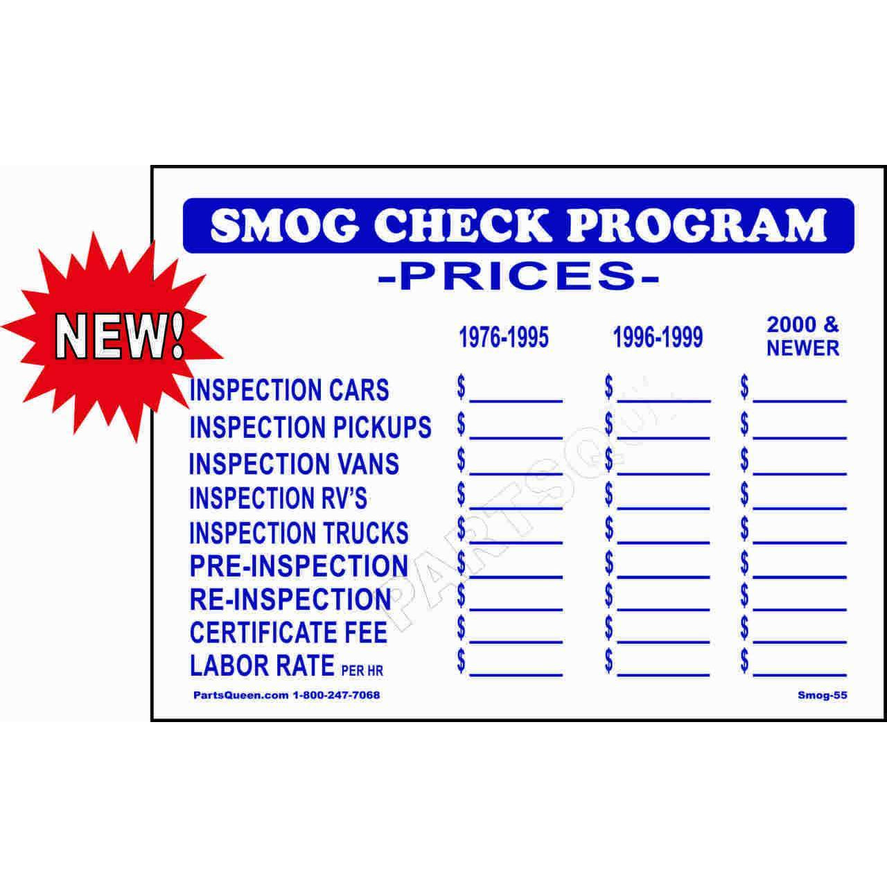 NEW SMOG CHECK PRICE SIGN SMOG-55