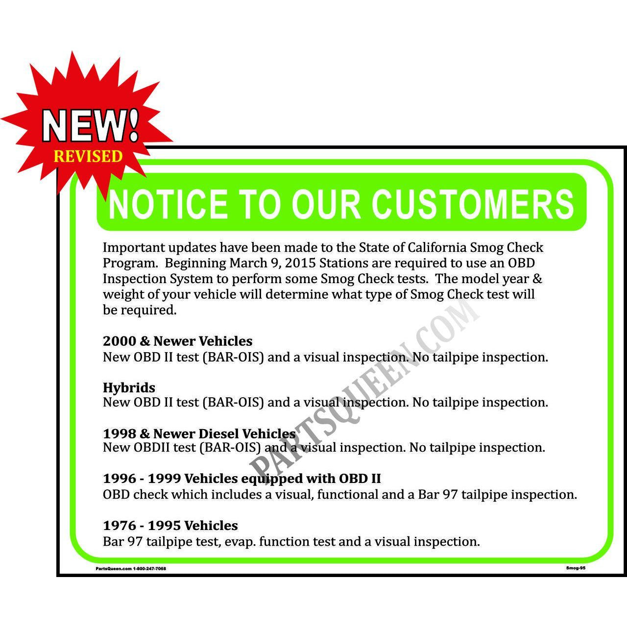 2015 OBD II SMOG NOTICE SIGN