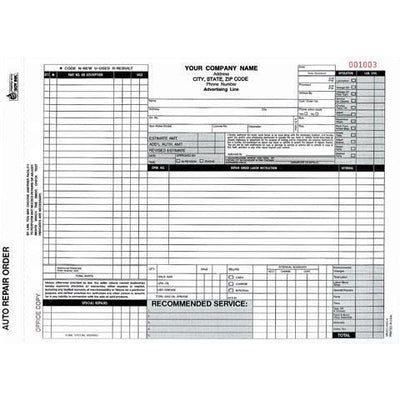 Auto Repair Form - 250 QTY  #ARO-372-4