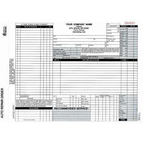 Auto Repair Form -2000 QTY #ARO-372-4
