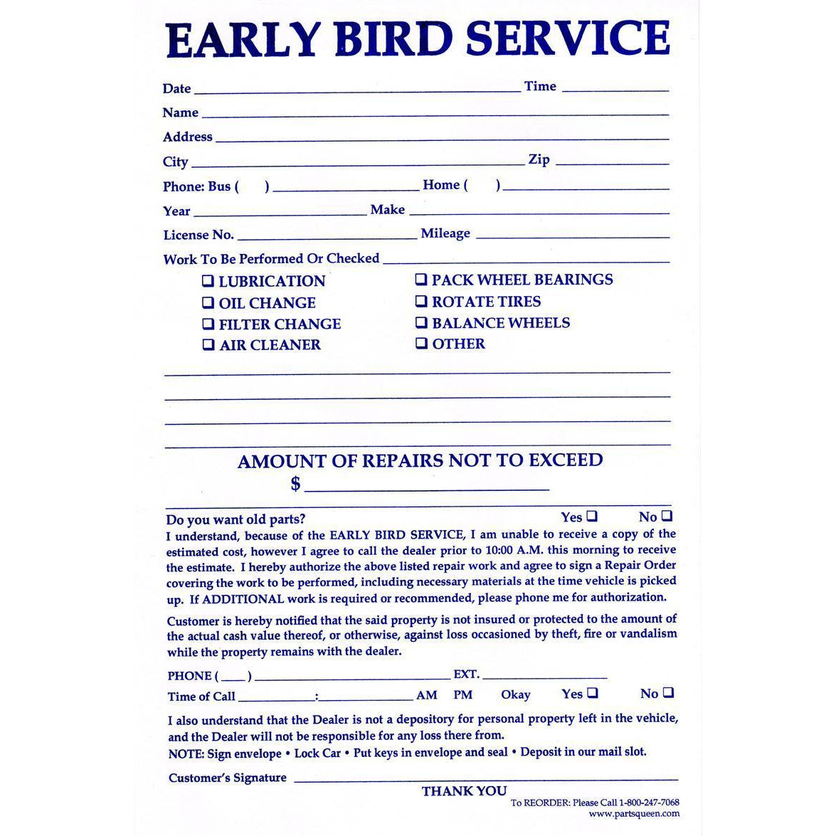 Early Bird Envelopes  EBE-PQ