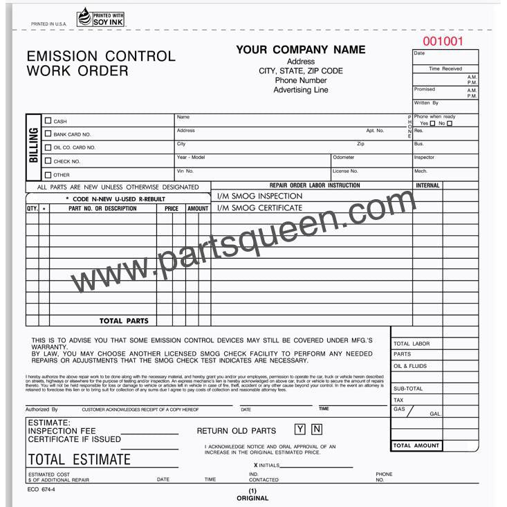 Emission Control Work Order  250 Qty #ECO-674-3