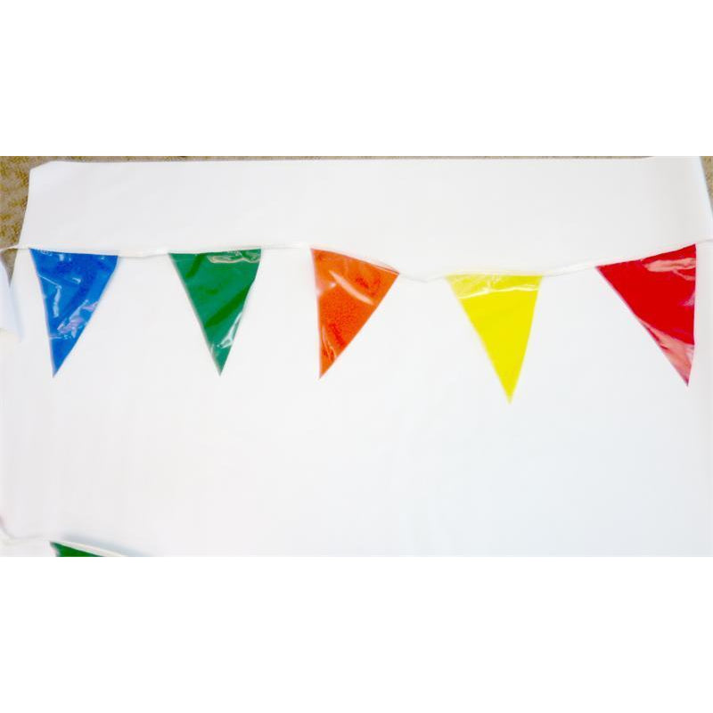 Multi Color Pennants, 60 Foot long String (MC-60) 6 Colors, Red, Blue, Green, Orange, Yellow, White
