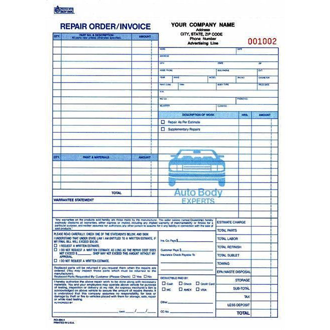 Body Repair Order - 250QTY #ROI-694-4
