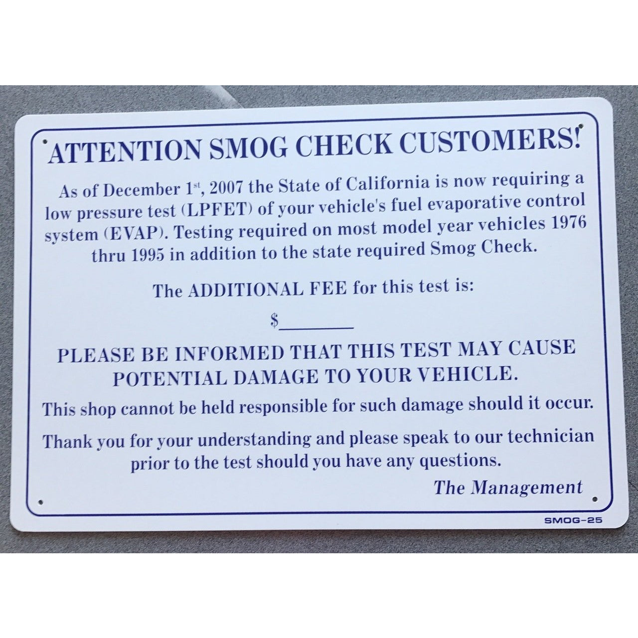 EVAP TEST PRICE SIGN, WITH COST & DAMAGE WARNING  SMOG25