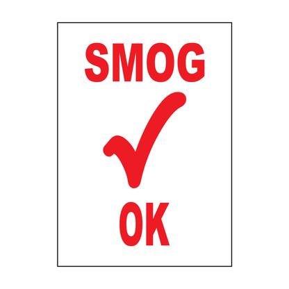 SMOG CHECK OKAY LABEL