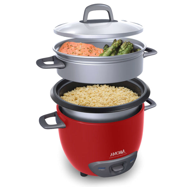 Red 6-Cup Automatic Rice Cooker Kitchen Food Steamer