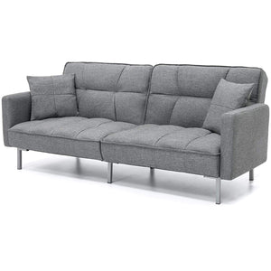 Modern Grey Linen Split-Back Futon Sofa Bed Couch