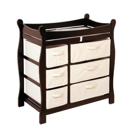 Espresso Wood Baby Diaper Changing Table with 6 Storage Baskets