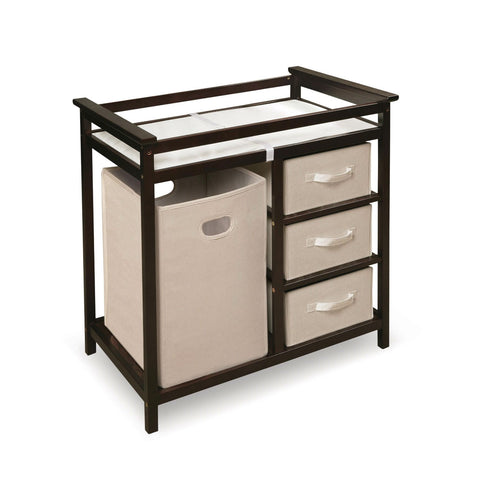 Baby Changing Table with 3 Baskets and Hamper in Espresso