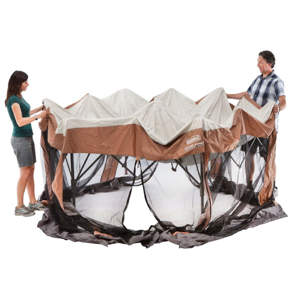 Instant 12ft x 10Ft Hexagon Screened Canopy Gazebo with Removable Insect Screen