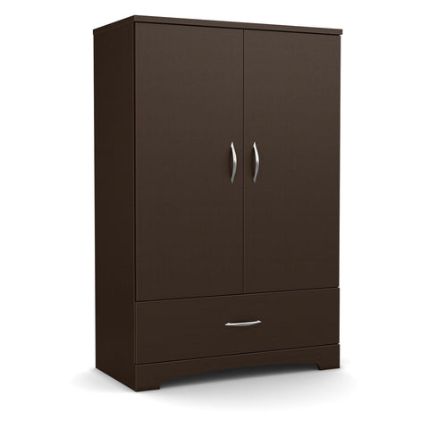Contemporary 2-Door Armoire Wardrobe Cabinet with Bottom Drawer in Chocolate Brown