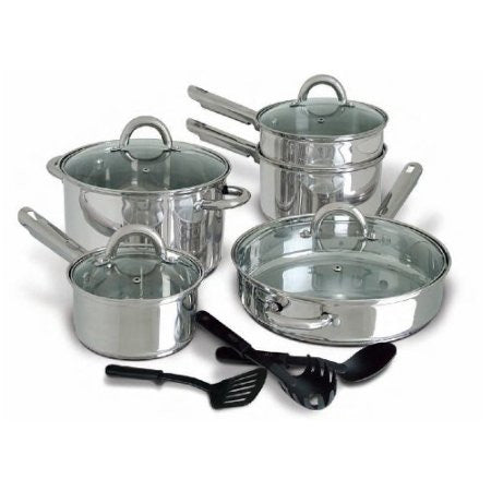 12-Piece Stainless Steel Cookware Set with Tempered Glass Lids