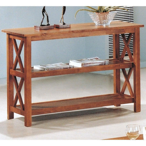 Brown Wood Sofa Table Living Room Console Table w/ 3 Shelves