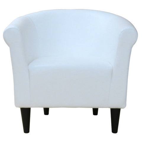 Modern Classic White Faux Leather Upholstered Club Chair