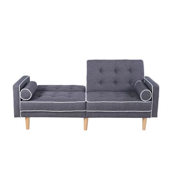 Dark Grey Linen Upholstered Sofa Bed Mid-Century Modern Classic
