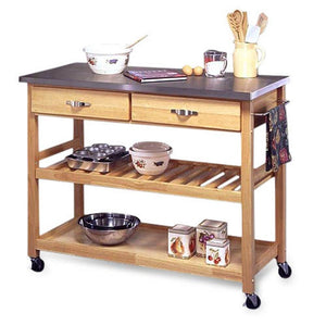 Stainless Steel Top Kitchen Cart Utility Table with Locking Wheels
