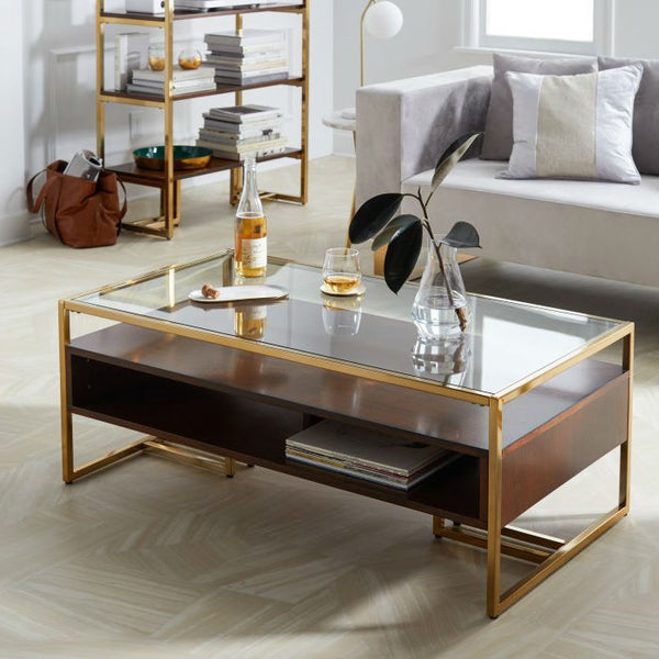 Modern Steel Brass-Plated Walnut Glass Top Retro Coffee Table