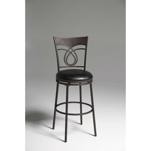 Metal 30-inch Bar Stool with Black Faux Leather Swivel Seat