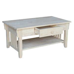 Unfinished Solid Wood Coffee Table Drawer and Shelf